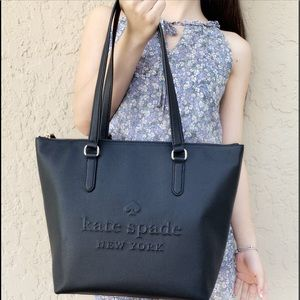 👜💕-NWT Kate Spade large zip Tote Balck logo